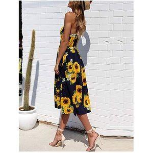 Claudia Sunflower Print Midi Pocket Dress